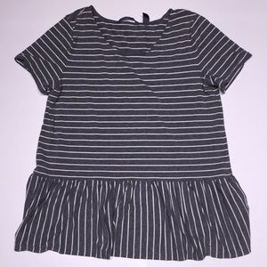 Any Body Striped Peplum Top Grey White Small